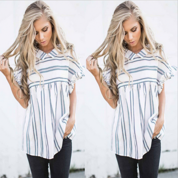 Sexy Striped Short-sleeved..
